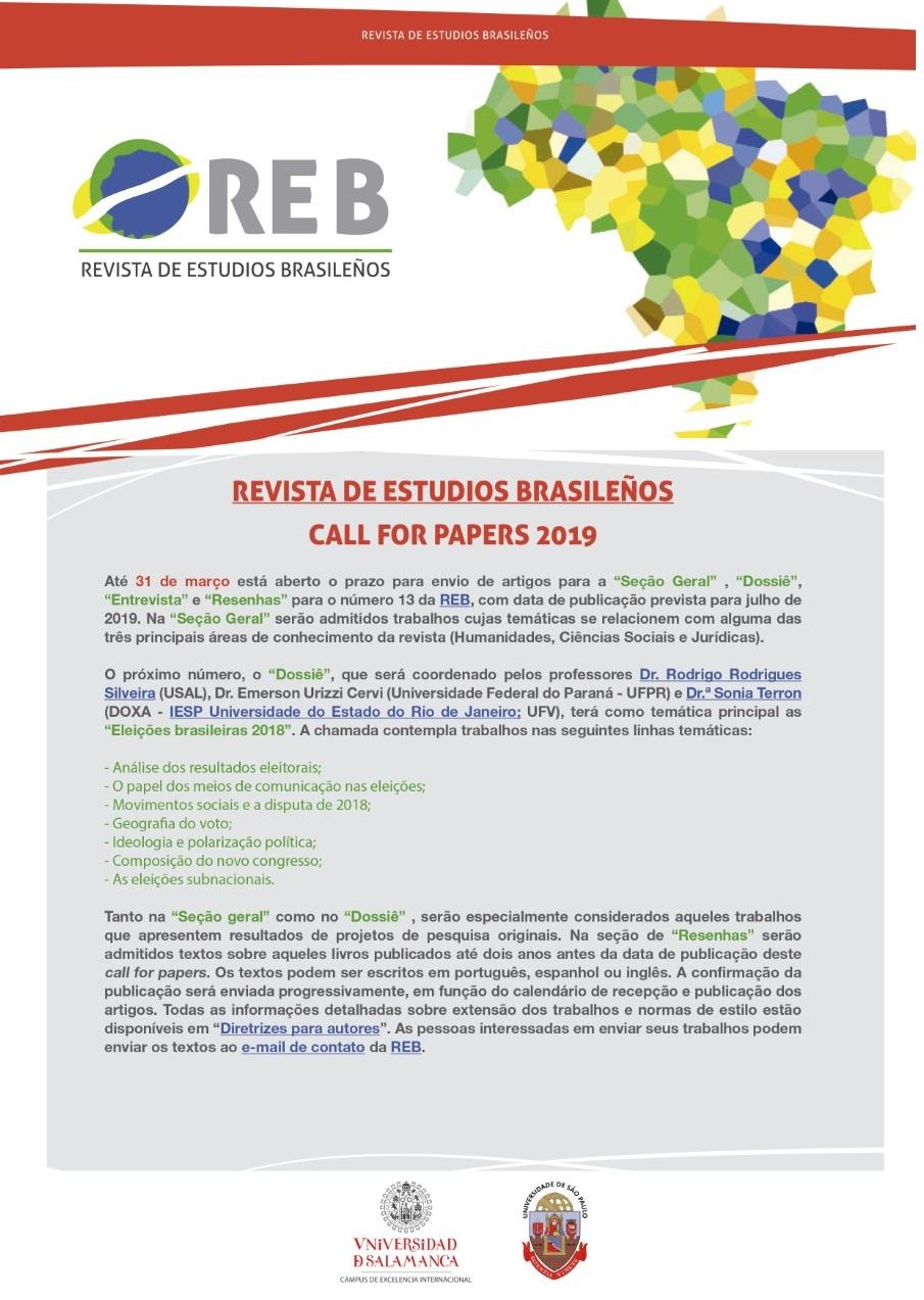 Revista de Estudios Brasileños recebe artigos até 31 de março