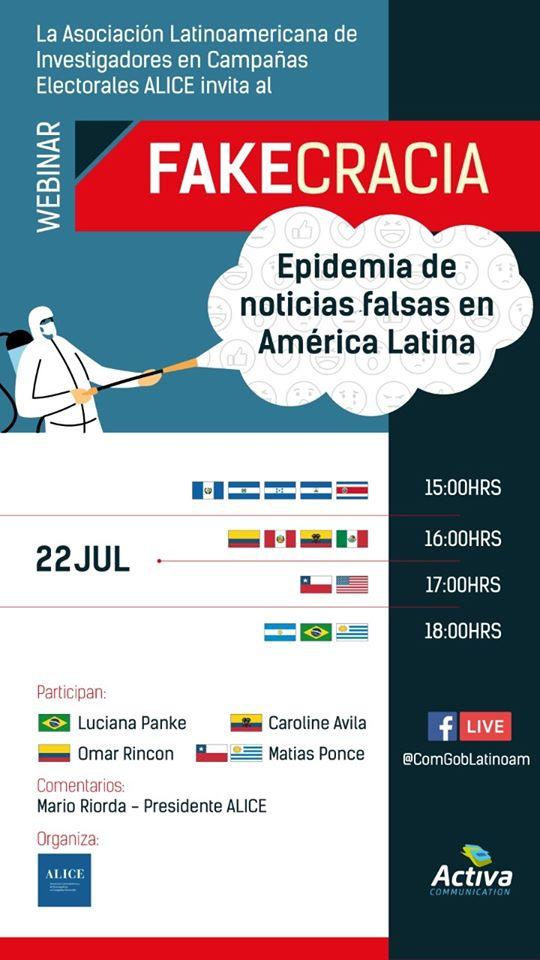 """Evento online debate o livro """"Fakecracia"""", organizado por Omar Rincon e Matias Ponce"""