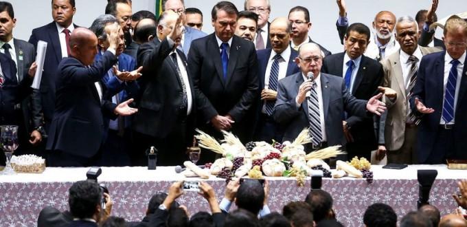 Bolsonaro participa de culto evangélico na Câmara dos Deputados, em 10 de julho de 2019.