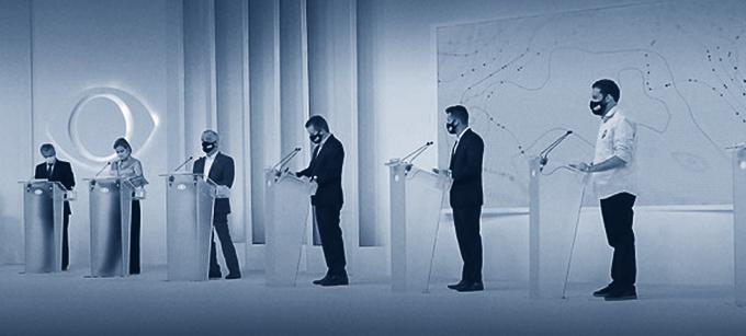 Postulantes ao cargo de prefeito(a) de São Paulo, em debate transmitido pela Band,  no dia 1º de outubro. Créditos da imagem: Band.